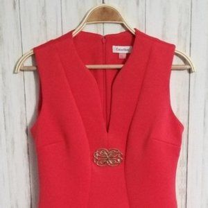 Calvin Klein Embellished Coral Scuba Sheath Dress